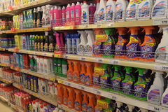 Household chemicals in the supermarket for home Royalty Free Stock Photos
