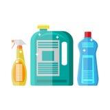Household chemistry cleaning. plastic bottles Stock Images