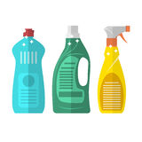 Household chemistry cleaning  plastic bottles Royalty Free Stock Images