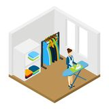 Household Chore Ironing Isometric Pictogram Banner Royalty Free Stock Image