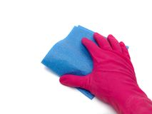 Household Chores. A cleaning cloth in use isolated against a white background Royalty Free Stock Photography