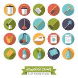 Household chores flat design round icon set. Collection of 20 flat design long shadow household chores icons on white background Stock Photo
