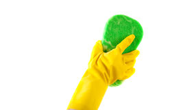Household CHores - A gloved hand washing Stock Photography