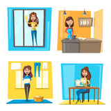 Household chores set with woman doing housework. Young housewife cooking dinner, cleaning window, hanging laundry and sewing clothes on machine. Housekeeping royalty free illustration