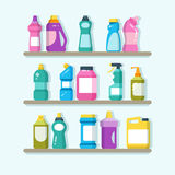 Household cleaner products and laundry goods on shelves. House cleaning service vector concept vector illustration