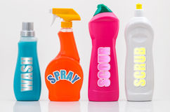 Household Cleaning Bottles 01-Labels Stock Photo