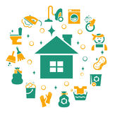 Household cleaning icons set. Sponge and housework, glove and bucket, wash and housekeeping, vector illustration Stock Photos