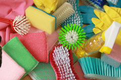 Household cleaning products Royalty Free Stock Photo