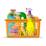 Household cleaning products and accessories Royalty Free Stock Photos