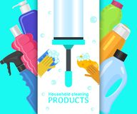 Household cleaning products banner vector illustration. Home clean tools such as brush,bucket, window wipes and royalty free illustration