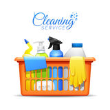 Household Cleaning Products In Basket Illustration Royalty Free Stock Images