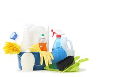 Household Cleaning Products in a Blue Bucket Stock Photo
