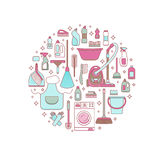 Household cleaning supplies. Isolated icons set in outline flat style. Washing tools vector cartoon illustrations bucket, chemistry . Graphic concept for web Stock Images