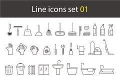 Household cleaning supplies line icon set, vector illustration Royalty Free Stock Photos