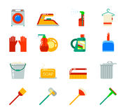 Household Cleaning Symbols Accessories Icons Set Stock Photography