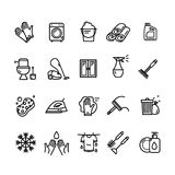 Household and Cleaning Tools Black Thin Line Icon Set. Vector Stock Photos