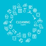 Household and Cleaning Tools Color Round Design Template Line Icon Concept. Vector. Household and Cleaning Tools Color Round Design Template Line Icon Concept Royalty Free Stock Images