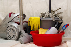 Household cleaning tools. Household cleaning items ready for a cleaning session Royalty Free Stock Photos