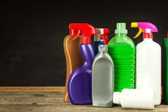 Household cleansers. Detergent. Sale of chemical products. Cleaning in the house. Household cleansers. Detergent. Sale of chemical products. Cleaning in the Royalty Free Stock Photo