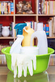 Household cleansers in the living room. Vertically. Stock Photo