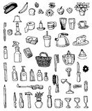 Household Doodle Items Stock Image