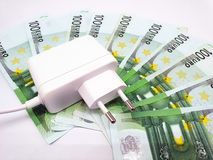Household electricity and energy costs. From the socket royalty free stock photos