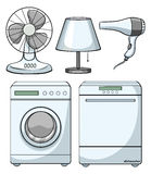 Household electronic devices on white Royalty Free Stock Photography