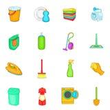 Household elements icons set, cartoon style Royalty Free Stock Photo