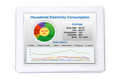 Household energy consumption screen on tablet. Display of household energy consumption on tablet computer royalty free stock photos