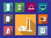 Household equipment flat icons set Royalty Free Stock Images