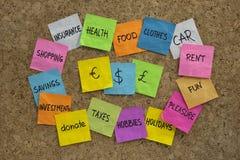 Household finance - word cloud on cork board stock image