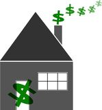 Household Finances Budget Home. Illustration showing money coming in the front door of a house and going out the chimney Royalty Free Stock Image