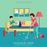 Household flat vector family concept: woman vacuum clean. Flat style division of labor lifestyle household domestic relations conflict situation. Woman vacuum Royalty Free Stock Images