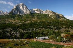 An household at the foot of the mountain. With beehives, Boga valley, Theth National Park, Albania Royalty Free Stock Photography