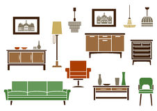 Household furniture and interior flat icons Stock Images