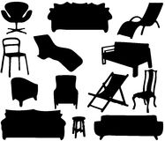 Household Furniture Silhouettes Stock Photography