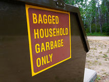 Household Garbage Only Sign on Dumpster Royalty Free Stock Photo