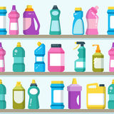 Household goods and cleaning supplies on supermarket shelves seamless vector background Royalty Free Stock Image