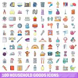 100 household goods icons set, cartoon style. 100 household goods icons set. Cartoon illustration of 100 household goods vector icons isolated on white Stock Photography