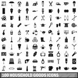 100 household goods icons set, simple style. 100 household goods icons set in simple style for any design vector illustration Stock Photos