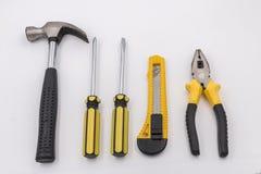 Household hardware tools. Hammer,Bolt driver,knife,plier Stock Photos