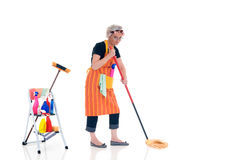 Household, housekeeping. Housewife, woman attending to daily household.  Ladder with household, housekeeping  products Stock Image