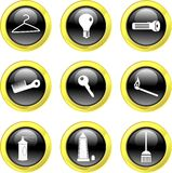 Household icons. Set of everyday household icons on black glossy buttons isolated on white Stock Image