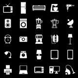 Household icons on black background Royalty Free Stock Photo