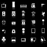 Household icons with reflect on black background Royalty Free Stock Photos