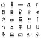 Household icons with reflect on white background Stock Images