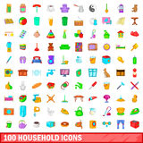 100 household icons set, cartoon style Stock Photos