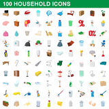 100 household icons set, cartoon style Royalty Free Stock Image