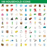100 household icons set, cartoon style. 100 household icons set in cartoon style for any design illustration stock illustration