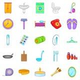 Household icons set, cartoon style Royalty Free Stock Image